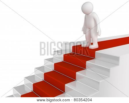 man and staircase (clipping path included)