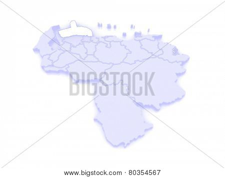 Map of Falcon. Venezuela. 3d