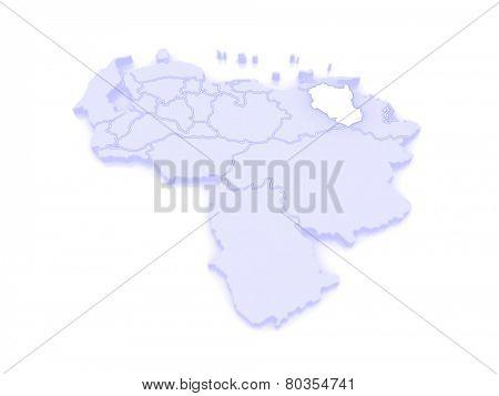 Map of Monagas. Venezuela. 3d