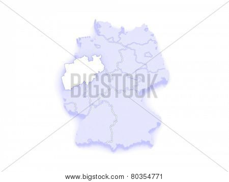 Map of North Rhine-Westphalia. Germany. 3d