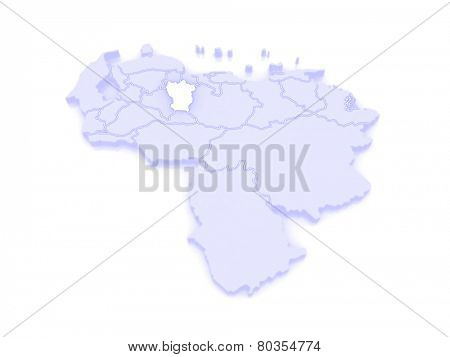 Map of Cojedes. Venezuela. 3d