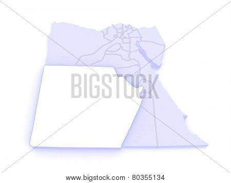 Map of New Valley (Al-Wadi al-Jadid). Egypt. 3d