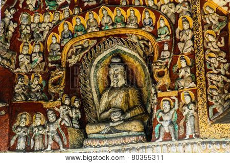 A Wall with many bodhisattvas