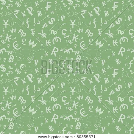 Currency symbols seamless pattern