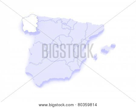 Map of Galicia. Spain. 3d