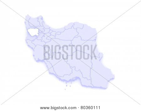 Map of Kurdistan. Iran. 3d