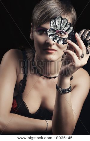 Young Woman With Glitter Mask