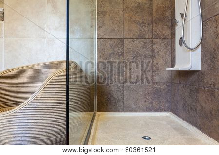 Porcelain Shower Base In A Bathroom