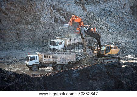 Coal-preparation Plant. Big Mining Truck At Work Site Coal Transportation