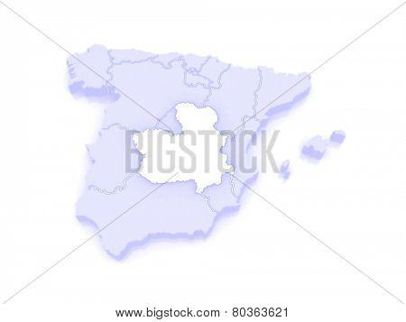 Map of Castilla - La Mancha. Spain. 3d