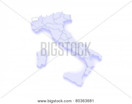 Map of Valle d'Aosta. Italy. 3d