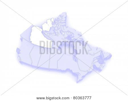 Map of Northwest Territories. Canada. 3d