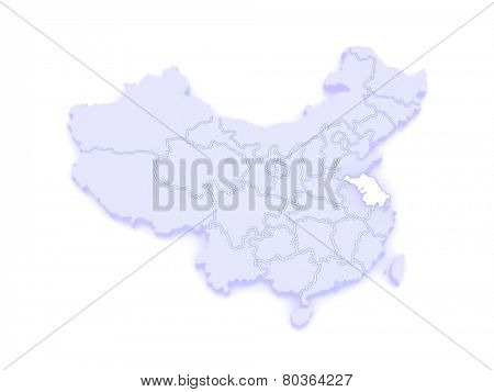Map of Jiangsu. China. 3d