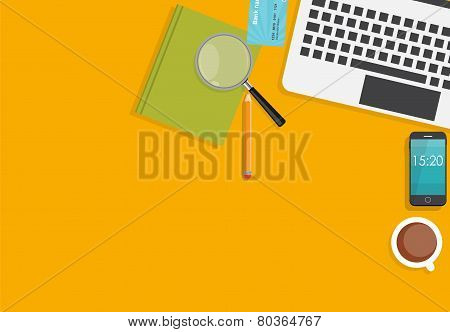 Working Place Modern Office Interior Flat Design Vector Illustra