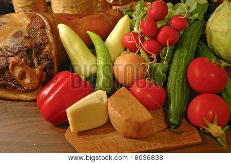 vegetables and ham