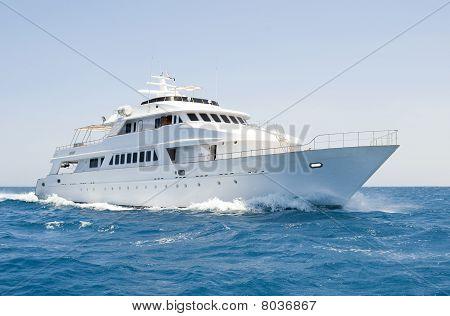 Large Motor Yacht Under Way At Sea