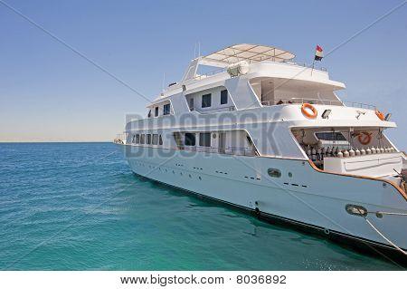 Large Motor Yacht Moored At A Marina