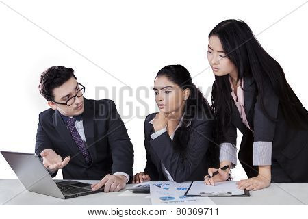 Manager Explaining Business Plan On His Partner