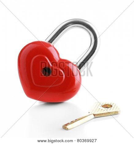 Heart-shaped padlock with key isolated on white