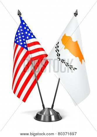 USA and Cyprus - Miniature Flags.