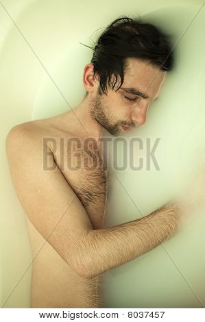 Young Naked Guy In A Bath