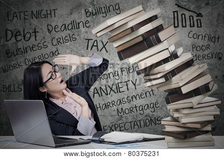 Woman With Pressure And Collapsing Book