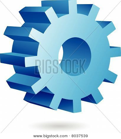 3d blue cog icon