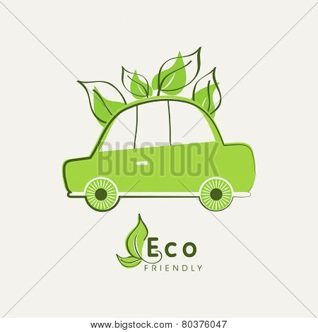 Save nature concept with Eco friendly car and green leaves.