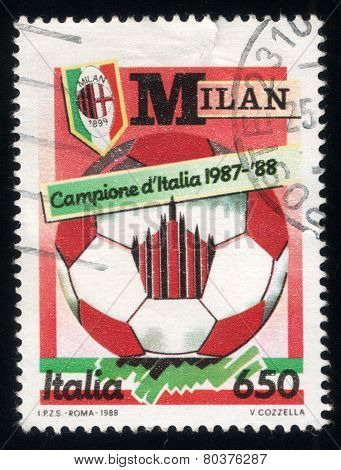 Celebrating Ac Milan Victory In Soccer Championship. Italian Post Stamp 1988