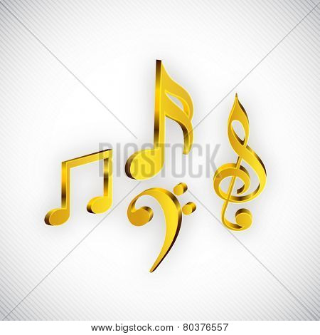 Shiny musical notes in golden color on seamless background.