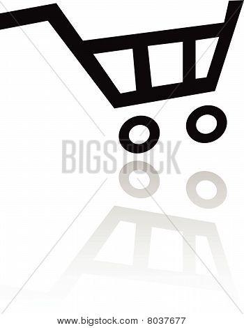 schwarz Einkaufswagen-Symbol