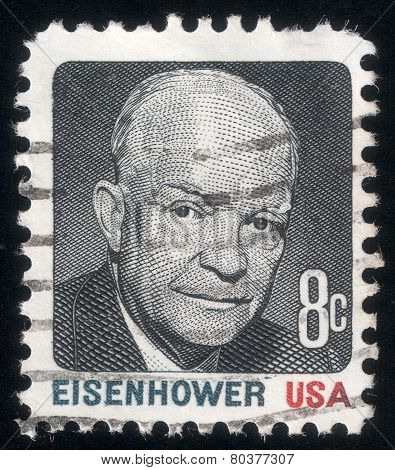 Portrait Of Pres. Dwight Eisenhower. Usa Post Stamp 1971
