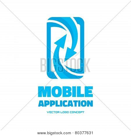 Mobile phone - vector logo concept illustration. Abstract smartphone with arrows vector logo concept