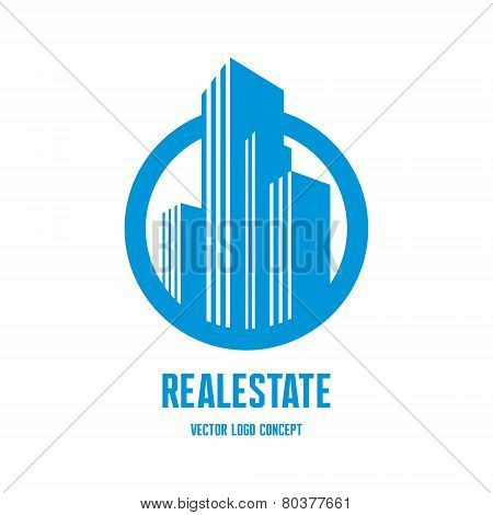 Real estate logo concept illustration. Building logo in classic graphic style. Cityscape logo. Abstr