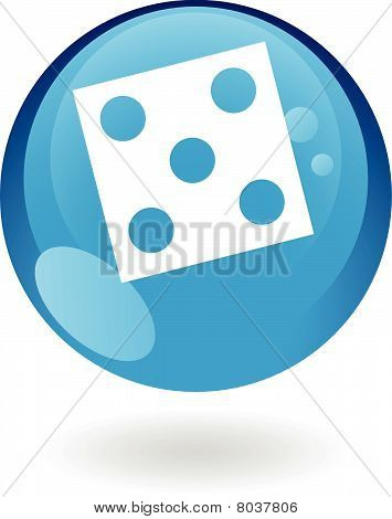 Glossy blue dice icon