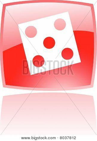 Icono de dados rojo brillante