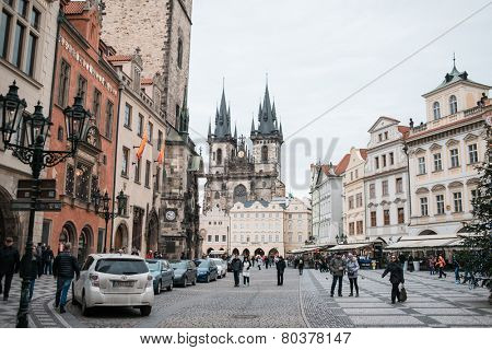 PRAGUE, CZECH REPUBLIC - JANUARY 9: Group of people walking on Old Town Square in Prague on january 9, 2015 in Prague. Christmas holiday continuing for tourists