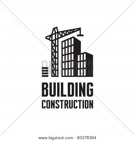 Building construction logo illustration. Crane and building construction illustration concept in bla