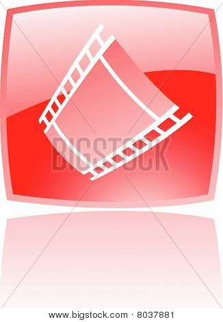 Glossy red film reel
