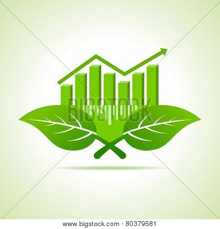 Ecology Concept - business graph with leaf stock vector