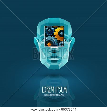 work vector logo design template. industry or disc-robot icon.