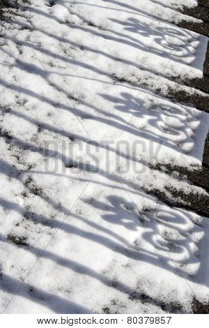 Shadows Of Wrought Ironwork On Snow