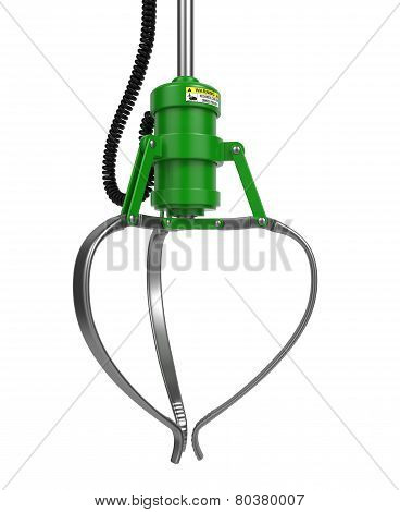 Closed Metal Robotic Claw in Green Color.