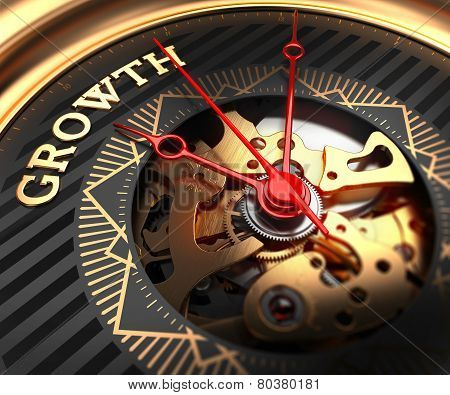 Growth on Black-Golden Watch Face.