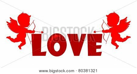 Silhouette Cupids holding a LOVE Banner