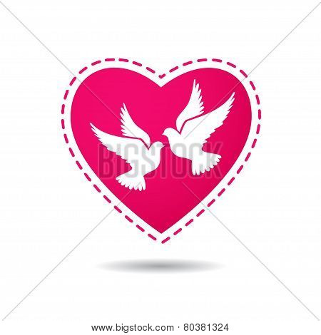 Two white doves on a red heart background