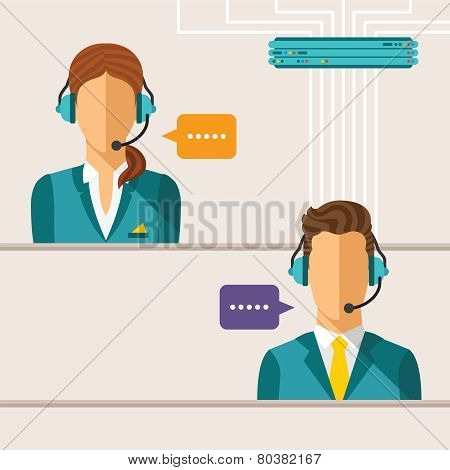 Vector Call Center Concept