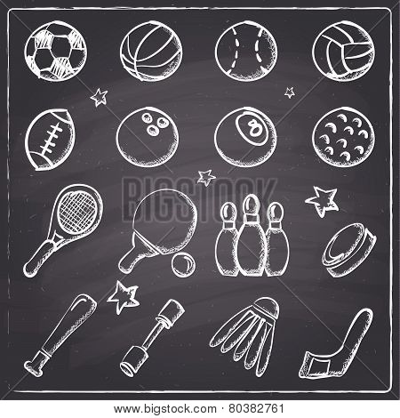 Chalkboard style sports icons