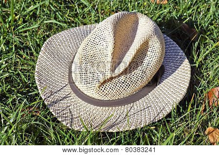 Straw Hat In Grass