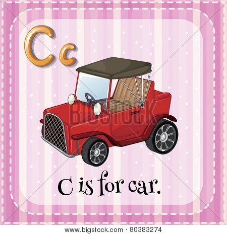 Illustration of a letter C is for car